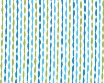 Blue Green Stripe Bloom'in Fresh Fabric - Moda - Deb Strain