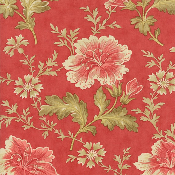 Red main autumn lily fabric moda by quiltsfabricandmore on for Beach house blackbird designs moda