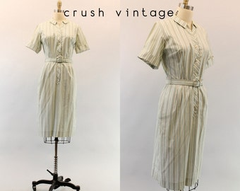 50s Cotton Dress Small / 1950s Striped Dress / Picnic in the Park Dress