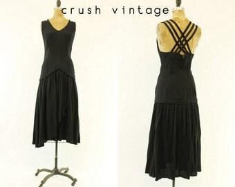 80s does 40s Dress Criss Cross Back Medium / 1980s Vintage Dress Dropwaist Dress /  Crocus Petal Dress