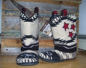 The Black and White Dairy Cow Pokes -  Felted Blanket Wool Slipper Boots/ Wool Lined/ Sheepskin & Leather Soles -  Women's or Men's Sizes