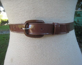 50s Skinny Ladies VINYL Belt BROWN 1950s 1960s Sz 33 To 37 Waist XL
