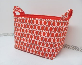 LARGE Fabric Organizer Basket Storage Container Bin Bucket Bag Diaper Holder Home Decor- Size Large  Red Circles