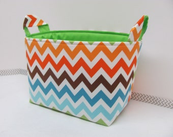 LARGE Fabric Organizer Basket Storage Container Bin Bucket Bag Diaper Holder Home Decor- Size Large - Chevron Multi REMIX