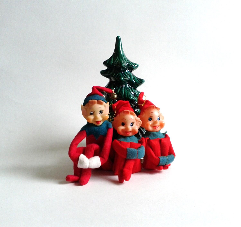 3 Red Kneehugger Elves Vintage Christmas Ornaments Decor