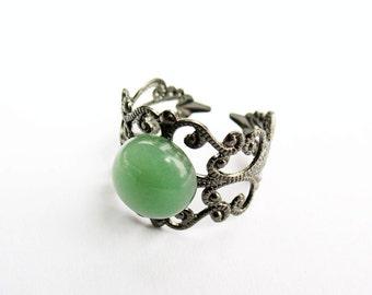 Green Aventurine Ring  - Gunmetal Filigree Ring with 10mm Green Aventurine Cabochon, Adjustable