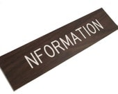 Nformation Simulated Woodgrain Sign information church 1970s plastic