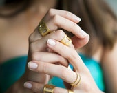 Oval Wide Ring-Geometry Collection-Handcrafted Gold Plated Brass