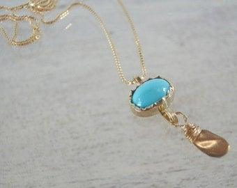 Gemstones Necklace , Turquoise 14K Gold Chain Necklace, December Birthstone Necklace, Turquoise Necklace