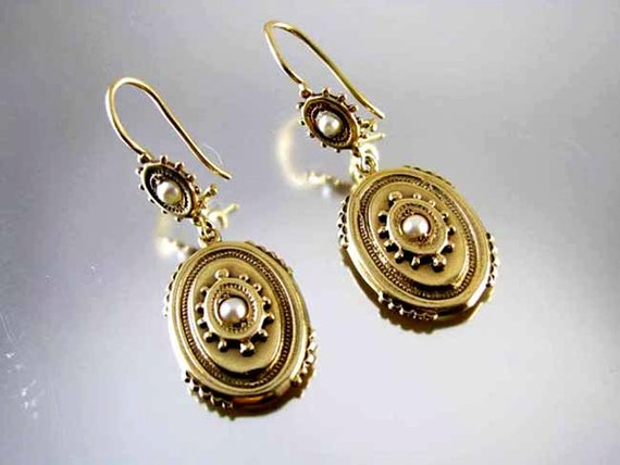 Antique Edwardian 14k gold seed pearl bead work earrings