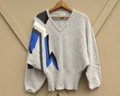 80s vintage Abstract Patterned Grey Wool and Angora Dolman Sweater