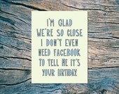 Facebook Birthday - A2 folded note card & envelope