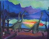 Print of Dino watching