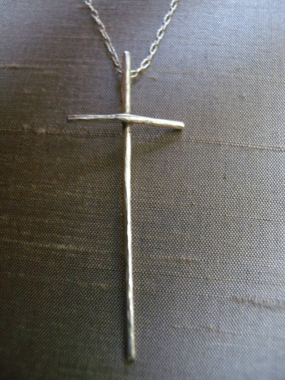 Silver Cross Necklace Long Sterling Silver Cross Necklace, Catholic Jewelry, Handmade Cross Necklace, Simple Necklace, Hammered Silver,