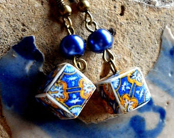 Portugal Gold and Blue 17th Century Tile Replica CUBE Earrings from Tile Museum in Lisbon  Waterproof and Reversible
