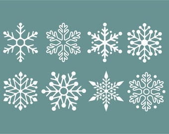 Snowflake Wall Decals, Winter Holiday Decorations, Snow Flake stickers, vinyl stick on snow decals, glass decals, vinyl wall decals, snow