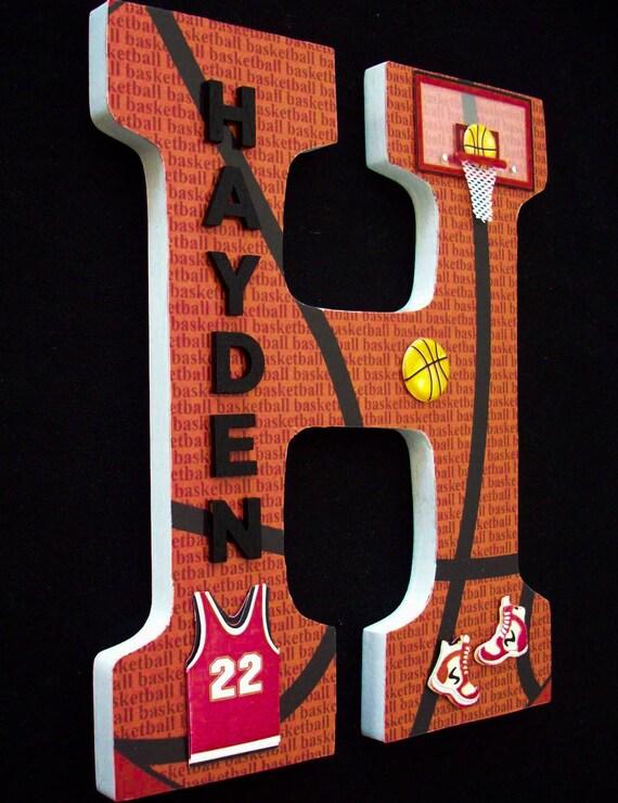 Sports Basketball Wood Letters Wall Letter Nursery Decor