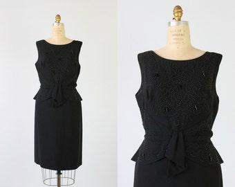Vintage 1960s Dress / Wiggle Dress / Black Cocktail Dress / Black Studs / Constellations