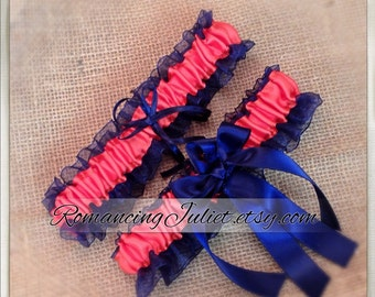 Organza Satin Skirted Garter Set..Many Colors Available for Custom Orders..shown in navy blue/coral