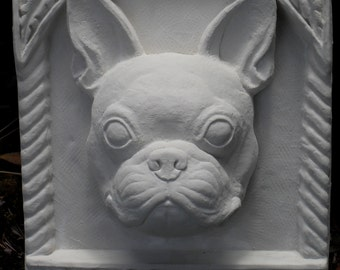French bulldog bas-relief sculpture