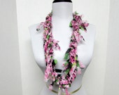 GladRagz Circle of Chains Necklace Scarf in Pink, Green, Black, White Chiffon Ready to Ship Infinity Circle Shredded Knotted Scarf Crochet