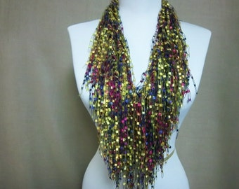 Fringe Binge Fringe Necklace Scarf in Gold, Yellow, Red,   Dark Blue Ready to Ship Infinity Scarf Knotted Scarf Circle Crochet Multicolor