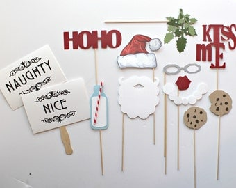Christmas Photobooth Props. Holiday Photo Booth Props. Photo booth Photo Props. Santa Claus