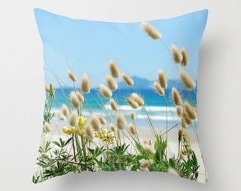 Beach theme pillow, sky blue pillow, bunny tails pillow sea grass cushion, waves accent pillow, home decor cushion, outdoor patio furnishing