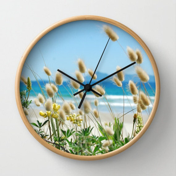 Beach Decor Clock Sea Grass Wall Clock Bunny Tails Beach Theme Clock