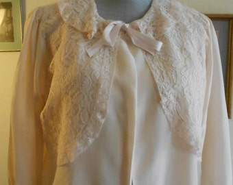 "1950's, 36"" bust, pale pink rayon bed jacket"