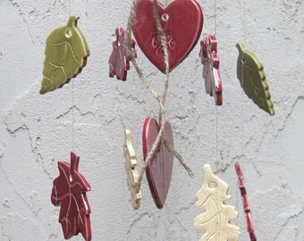 Autumn Leaves and Hearts Memorial  Wind Chime Personalized