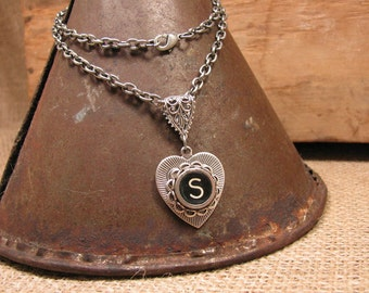Typewriter Key Necklace - Love Jewelry - Antique Silver Heart Shaped Pendant - Authentic Black Initial S Typewriter Key Necklace