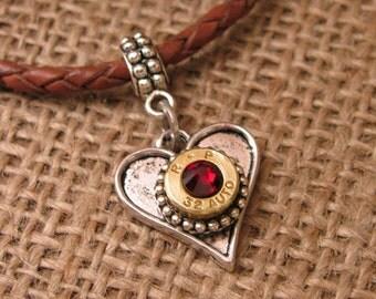Bullet Jewelry - Bullet Charms - Love Charm - European Style Heart Shaped Bullet Charm - Bullet Pendant