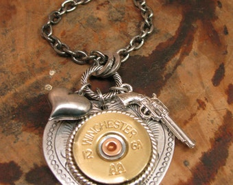 Bullet Jewelry - Shotgun Casing Jewelry - 12 Gauge Shot Thru the Heart Necklace w/Pistol & Heart Charm