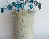 Shabby Chic Whimsical Textured Turquoise and Cream Vase