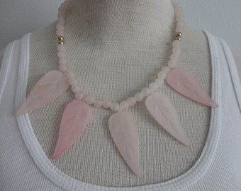 VINTAGE frosted light pink LEAF NECKLACE