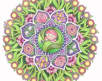 Baby's Garden; A Mandala that can be customised for baby girl. Name can be printed in flowers centers circling the design.