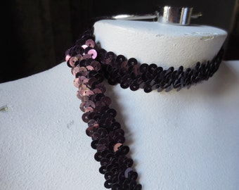 PLUM Stretch Trim with Sequins for Flappers, Baby Headbands STR 1419plum
