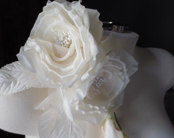 IVORY Rose Silk Millinery Corsage for Bridal, Millinery MF 118