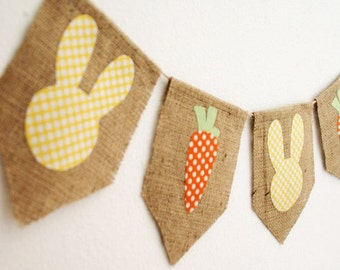 MADE to ORDER - Shabby Easter Banner Bunny and Carrot Banner Bunting in Yellow by sweetcarolinehome