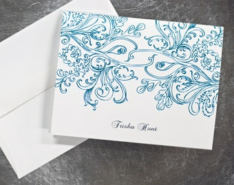 Personalized Folded Note Cards (Set of 10) - Vintage Lace Design