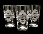 3 Personalized Pint Glasses, Personalized Groomsmen Gifts, Beer Logo Glass