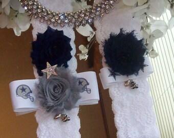 Bridal Garter,Dallas Cowboy Garter,Lace Garter,Wedding Garter,Bridal Garter,Rhinestone Garter,Dallas Garter,Sports Garter,Something Blue