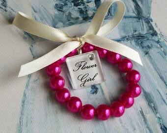 New Fuchsia Flower Gilr,Fuchsia Wedding, Wedding,Pink Wedding,Flower Girl Bacelet,Pearl Bracelet,Flower Girl,Pink Flower Girl,