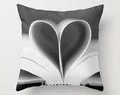 Valentine's Pillow Cover, black and white throw pillow, heart abstract grey silver gray geometric love book bedroom winter home decor - AmeliaKayPhotography