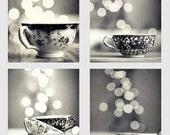 Black and White Tea Cup Photography Set - Set of 4 - antique tea cups photo set, bokeh photograph, coffee cup set, gift idea