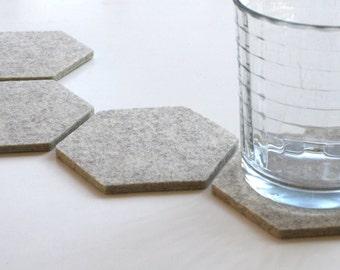 Hexagon Coasters for Drinks Housewarming Gift Modern Bar Cart Minimalist Wool Felt Drink Coaster Set Geometric Hostess Gift Beverage