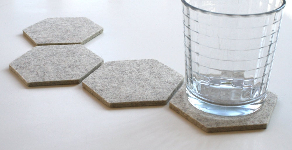 Hexagon Set Of Coasters For Drinks Housewarming Gift Modern
