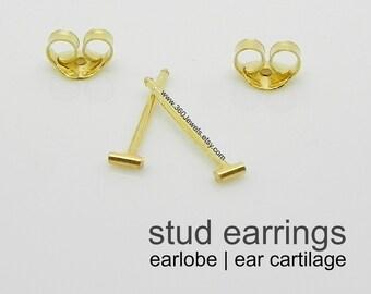 Men's stud earrings - men's earrings stud - tiny bar stud earrings - gold stud earrings - cartilage earring - helix stud - 3mm studs 464 Y