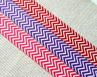 1.5 inch Chevron Ribbon, White zigzag printed on either Red, Shocking Pink, Purple, Black, or Grey grosgrain, Pick from 1, 5, or 10yds